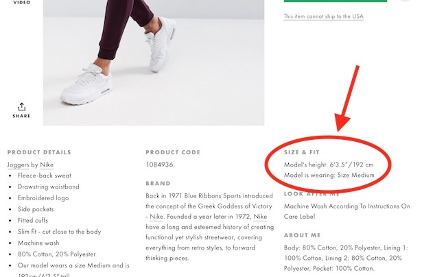 asos model height