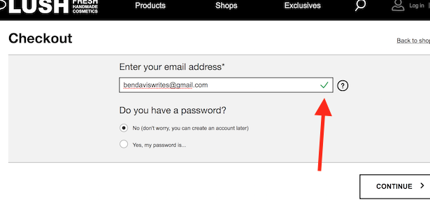 lush email validation