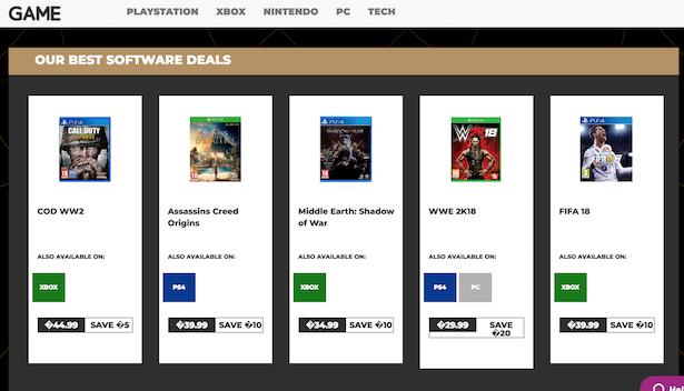game black friday listings