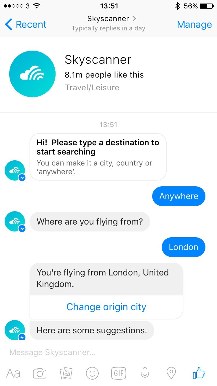 skyscanner chatbot