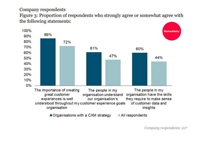 chart showing organisational understanding of customer experience management