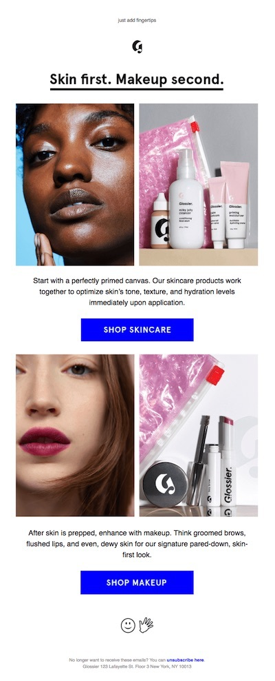glossier email - skincare first, then makeup