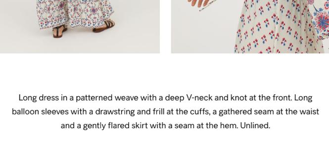 h&m dress description