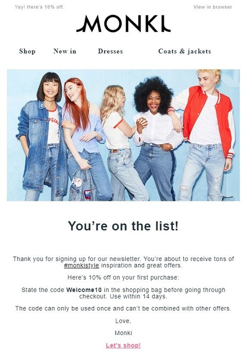 monki welcome email