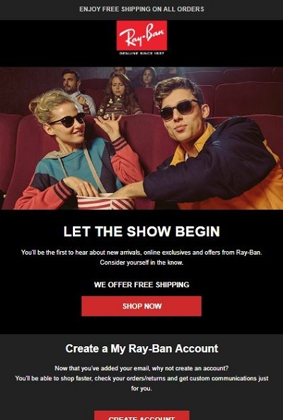 ray ban welcome email