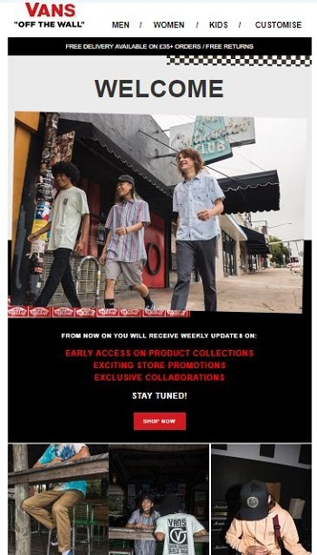 vans welcome email