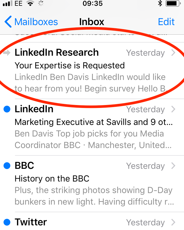 linked research email