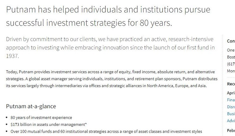 putnam has helped individuals and institutions pursue successful investment strategies for 80 years