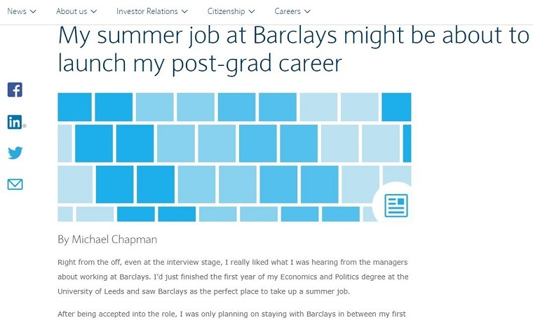 """my summer job at barclays might be about to launch my postgrad career"""