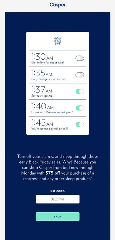 Casper black friday email