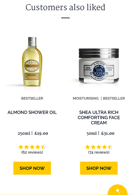 "Two products being recommended to a shopper under the heading ""Customers also liked""."