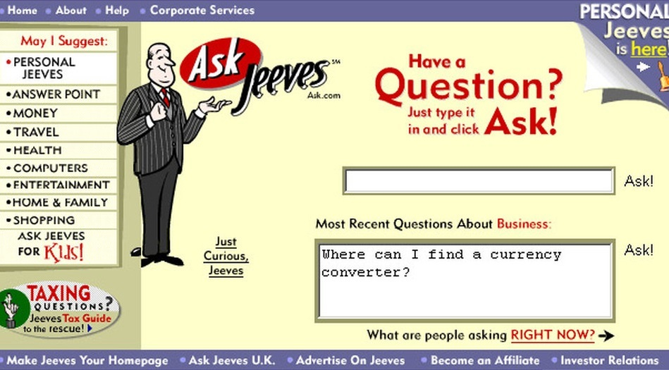 Ask Jeeves in 2000