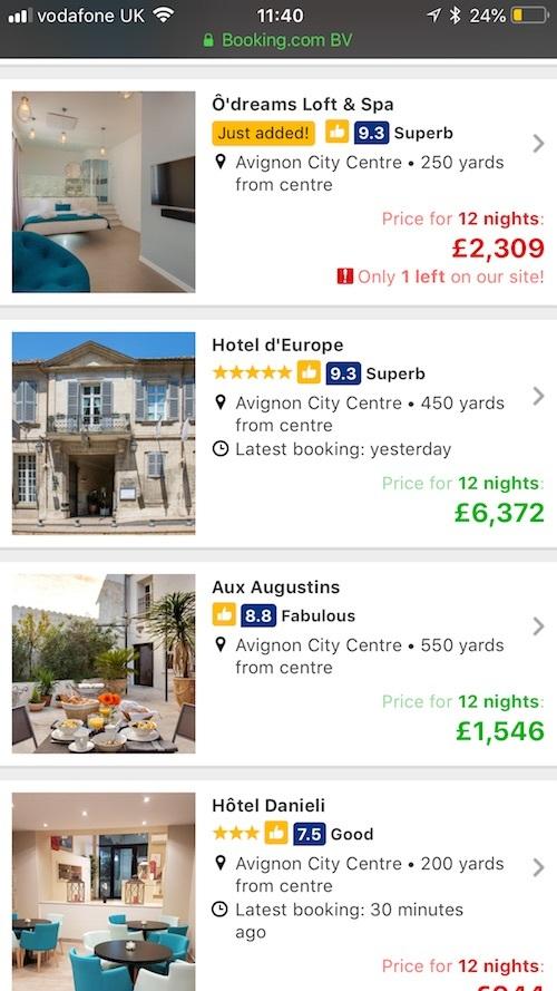 booking.com listings