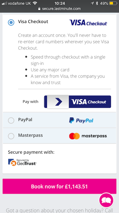 lastminute visa checkout