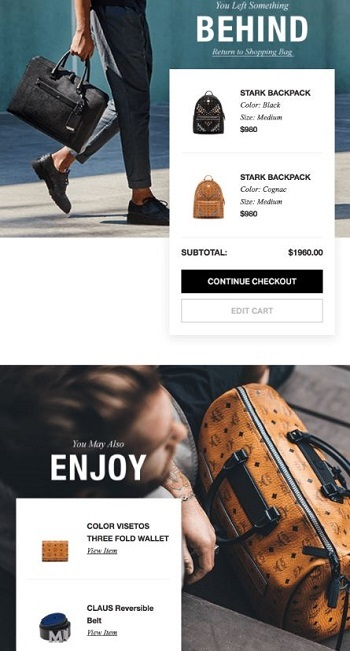 MCM browse abandonment email