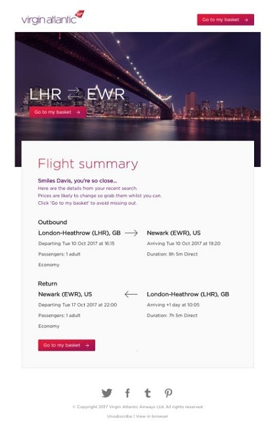Virgin Atlantic browse abandonment email