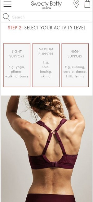 sweaty betty bra guide
