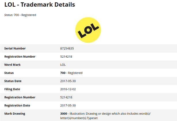 Details of Buzzfeed's LOL trademark, which refers specifically to a 'mark drawing' of the letters LOL in a yellow circle.