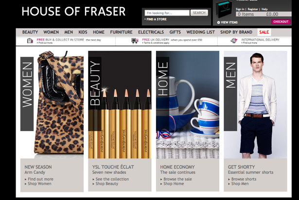 House of fraser site review econsultancy for Quality classic house of fraser