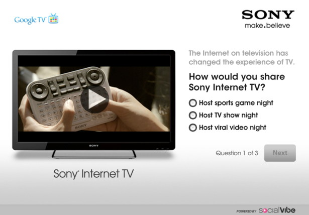Sony internet advert from SocialVibe