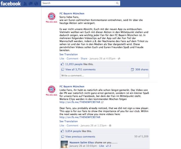 Bayern Facebook page