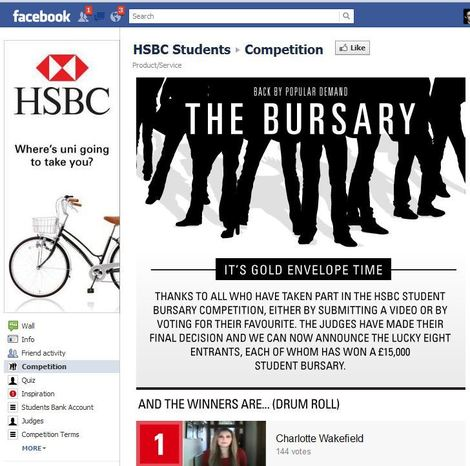 HSBC Facebook competition page