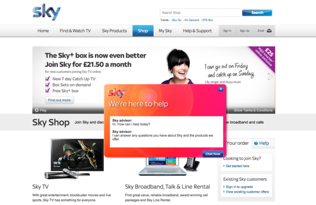 sky customer service online chat