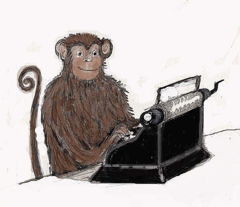 Monkey with Typewriter by Heather Fallows