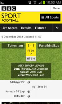 bbc live scores football