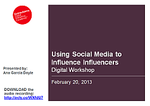 Cover for Digital Workshop: Using Social Media to Influence Influencers