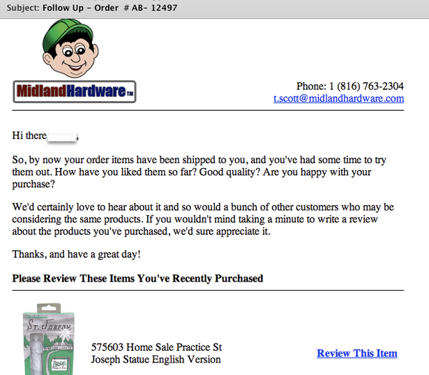 Midland Hardware stimulates reviews via email