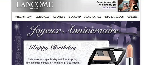 Birthday promotion via email by Lancome