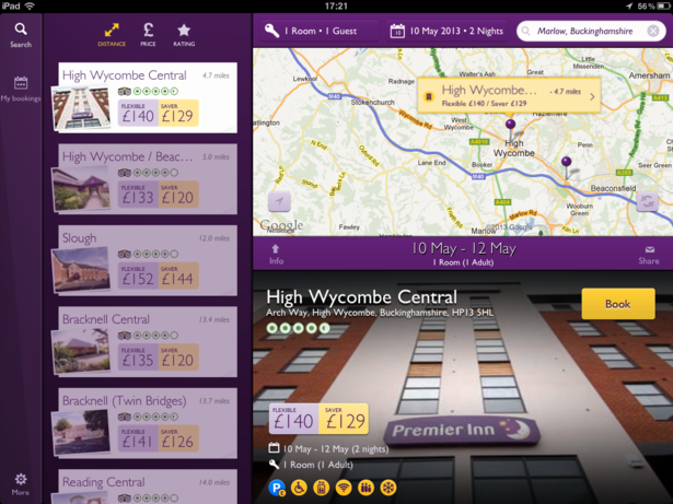 Premier Inn's simple iPad app is a useful tool for business travellers