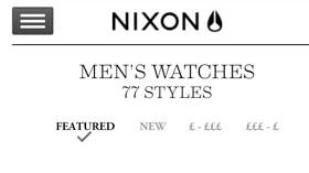 Nixon responsive ecommerce screenshot