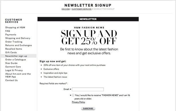 email sign up forms a look at how 16 fashion retailers collect customer data econsultancy. Black Bedroom Furniture Sets. Home Design Ideas
