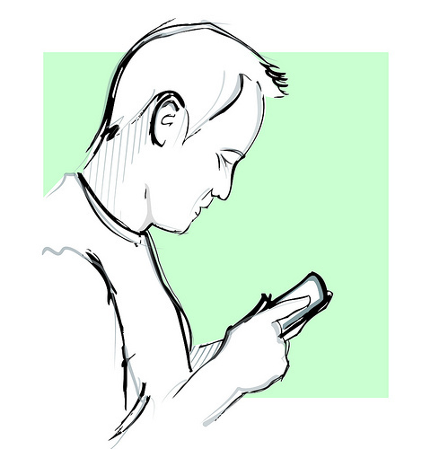 iOS7 - illustration of man on phone