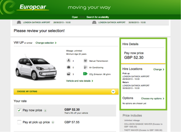 Europcar Comes Top In Rental Car Website Usability Study Econsultancy