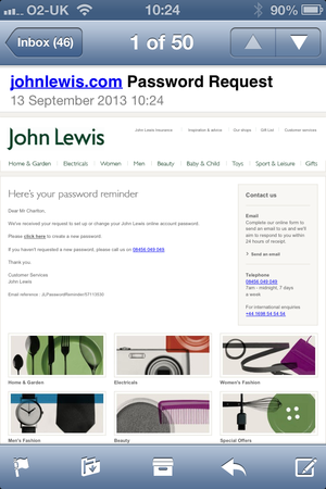 John Lewis password reset email