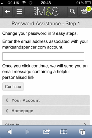 Can customers reset passwords on your mobile site?