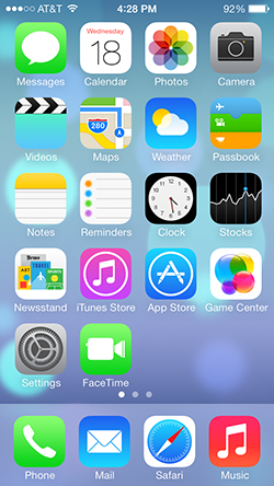 iOS7 home screen