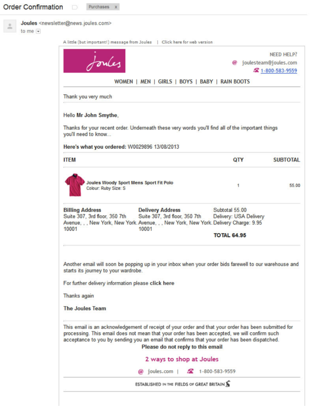 Joules email
