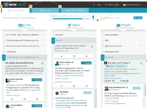 tame dashboard, for twitter search and digest
