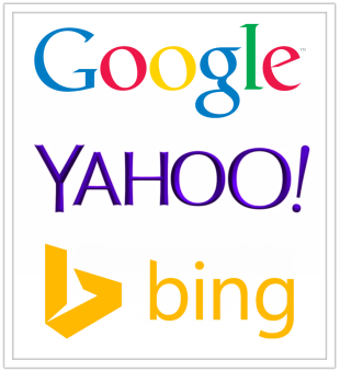 google, yahoo, bing logo