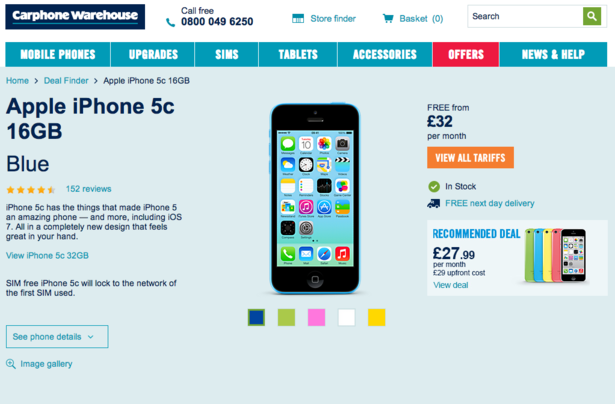 Did I search for a blue iPhone 5C? No, I didn't. However, there are ...