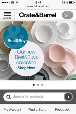 Crate Barrel Has A Great Mobile Site With Clear Menus And Large Search Bar On The Home Screen