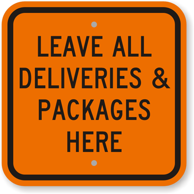 deliveries sign