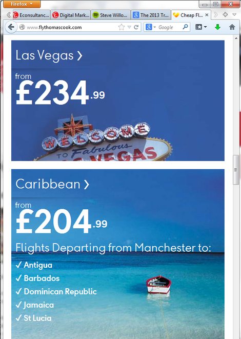 thomas cook airlines responsive website