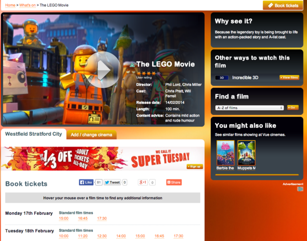 Fight Club! Odeon, Vue and Cineworld: a UX comparison – Econsultancy