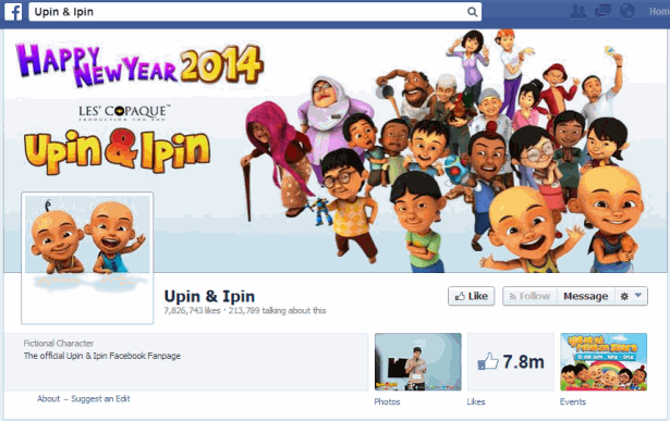 Upin and Ipin Facebook 7.8m fans