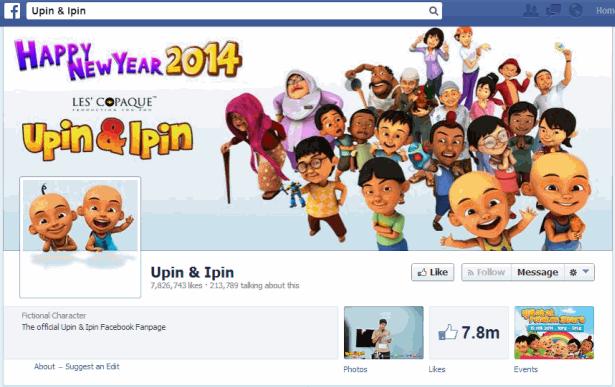 Upin and Ipin Facebook 7.8m fans